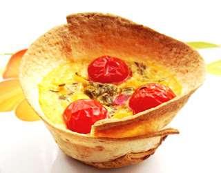 Sufleu de legume mexicane în pahare de tortilla