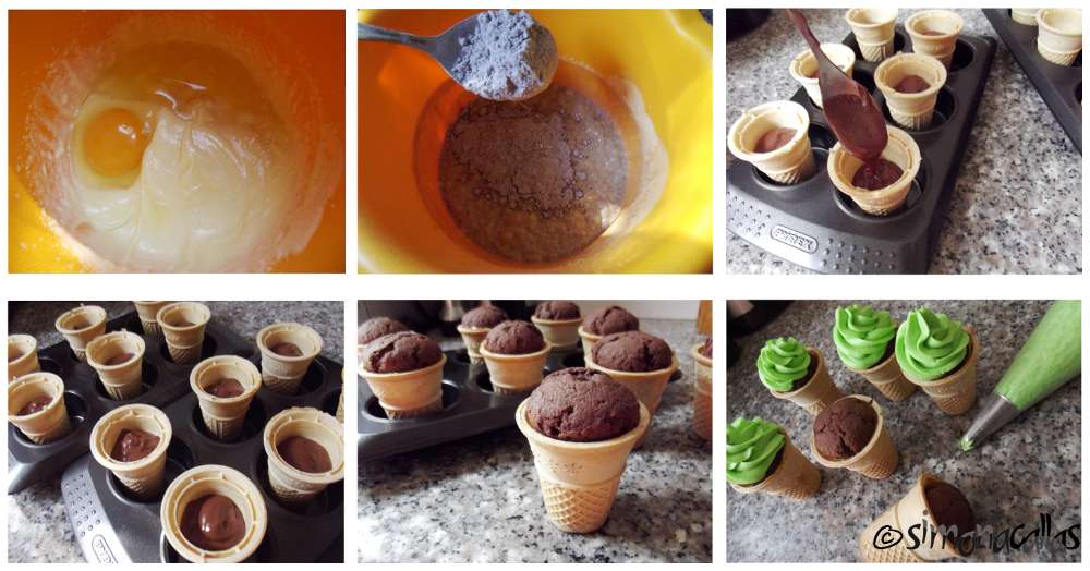 Cupcakes in cupe de inghetata cu ciocolata si menta