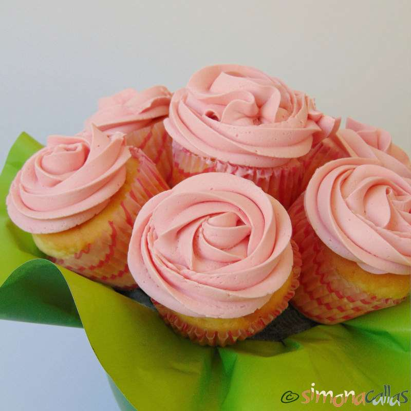 Cupcakes In The Pink With Cherries Bouquet