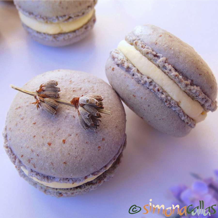 Lavender Macarons with white chocolate ganache filling