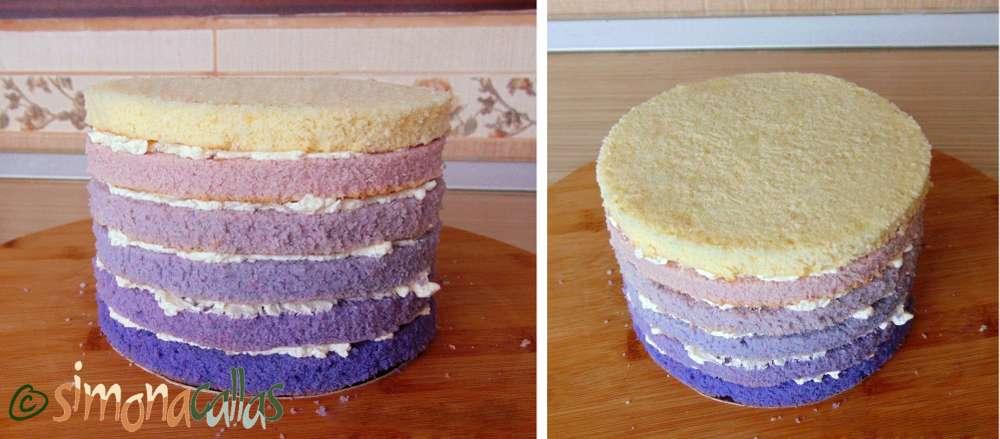 Tort degrade cu lavanda si crema fina