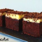 Chocolate cake squares with pastry cream frosting