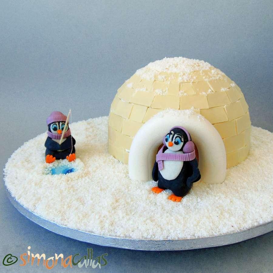 Tort Craciun Diplomat Iglu si Pinguini