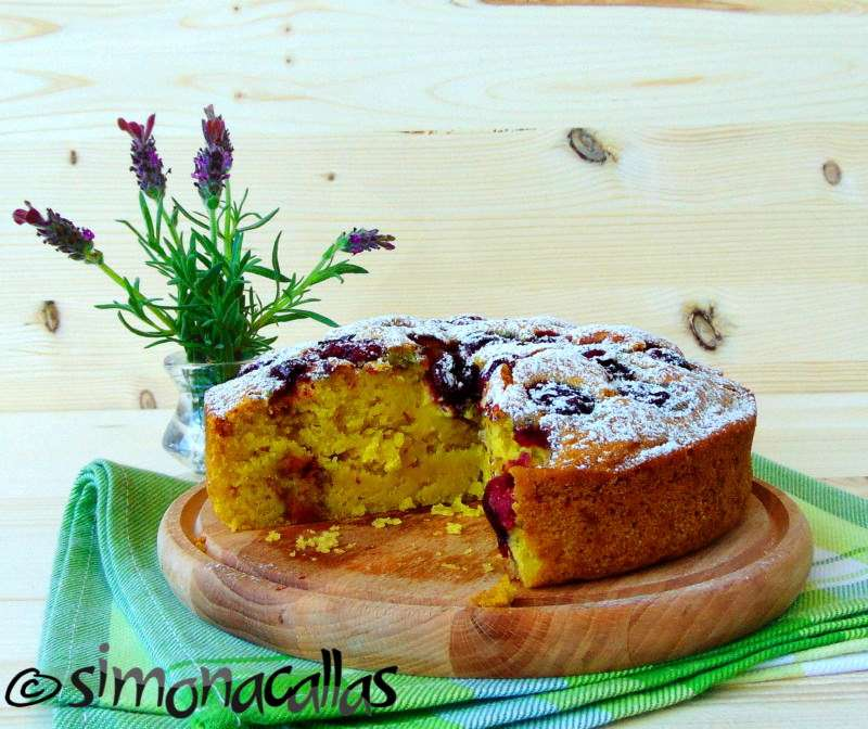 Vegan Sour Cherry Sponge Cake Simonacallas