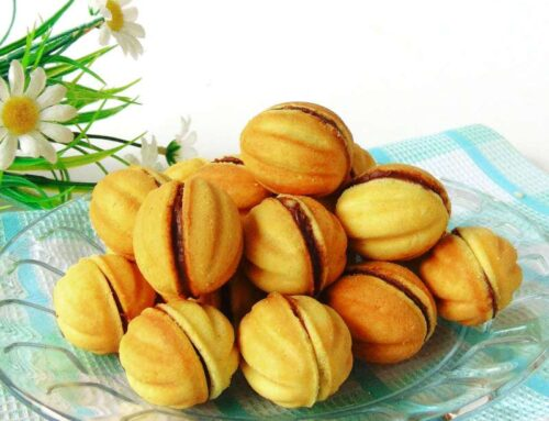Walnut Shaped Cookies with Chocolate Ganache Filling