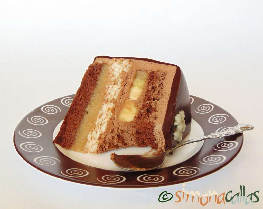Tort Entremet cu banane si ciocolata 4
