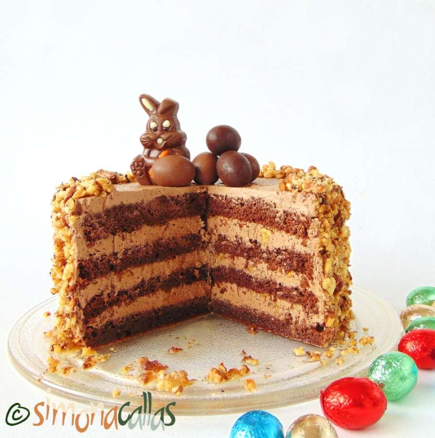 Tort simplu cu ciocolata si nuca 2