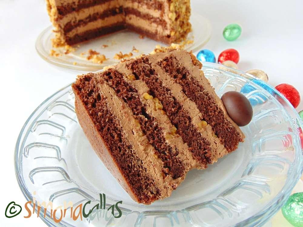 Tort simplu cu ciocolata si nuca 3